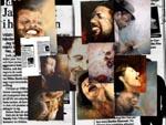 Collage-urval :porträtt av jazzlegender målade av Klas Smeby runt år 2000